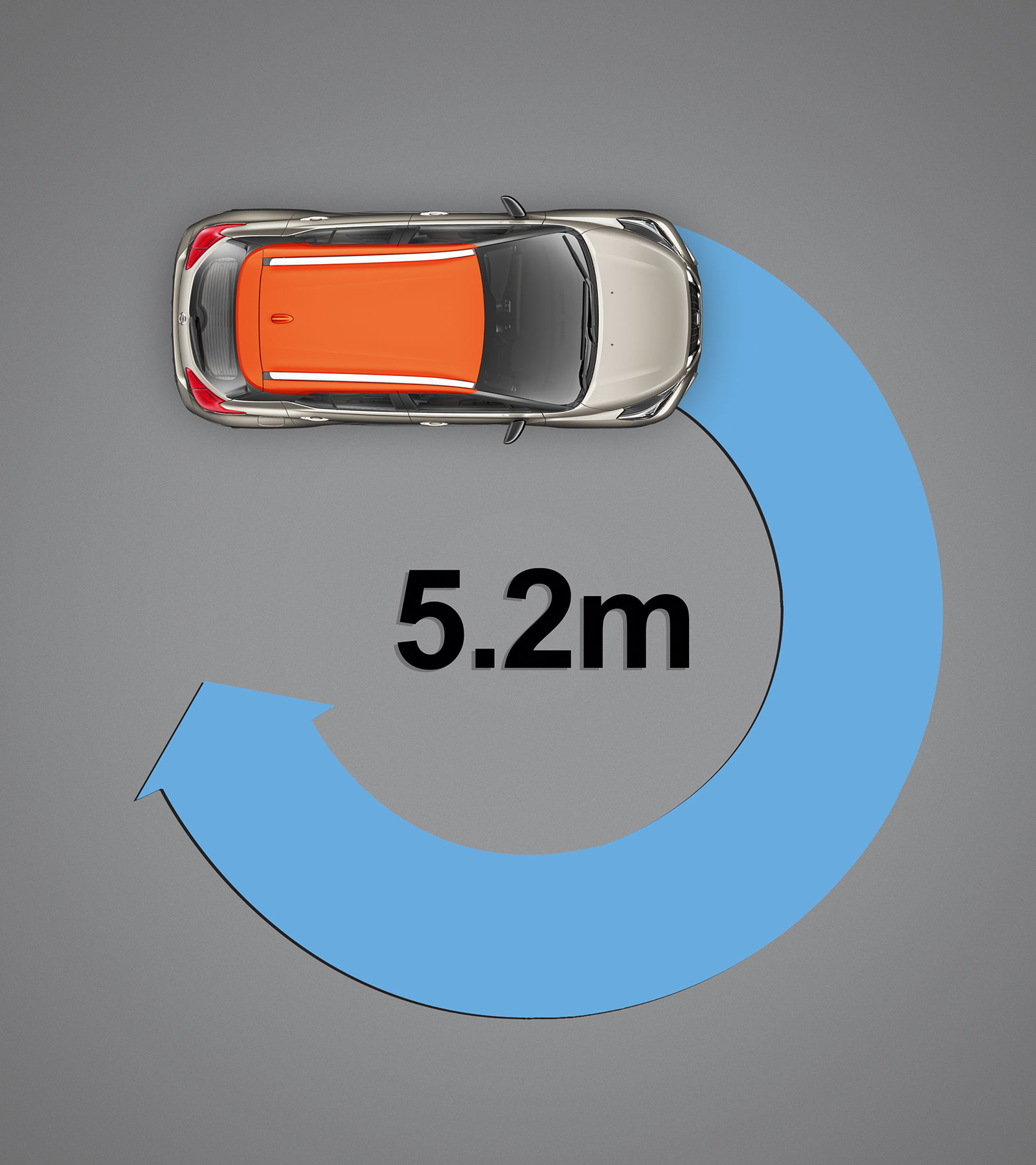 Best-In-Class Turning Radius (5.2m)
