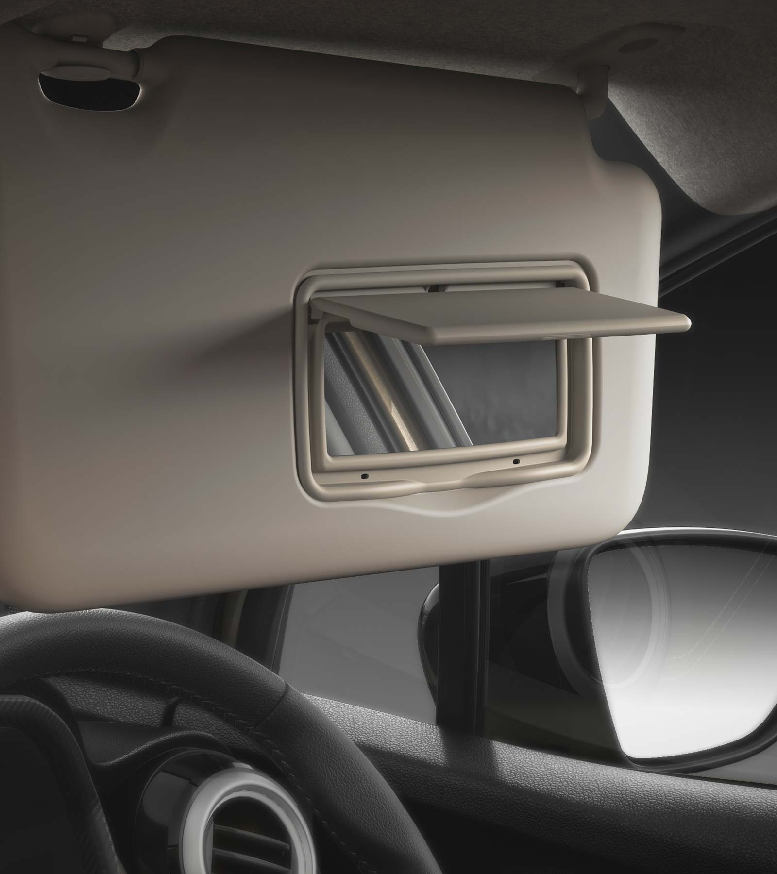 Driver & Co-Driver Sun Visor With Vanity Mirror