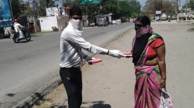 Food packets distribution in nearby villages