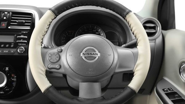 Steering Wheel Cover - Art Leather (Beige + Black)