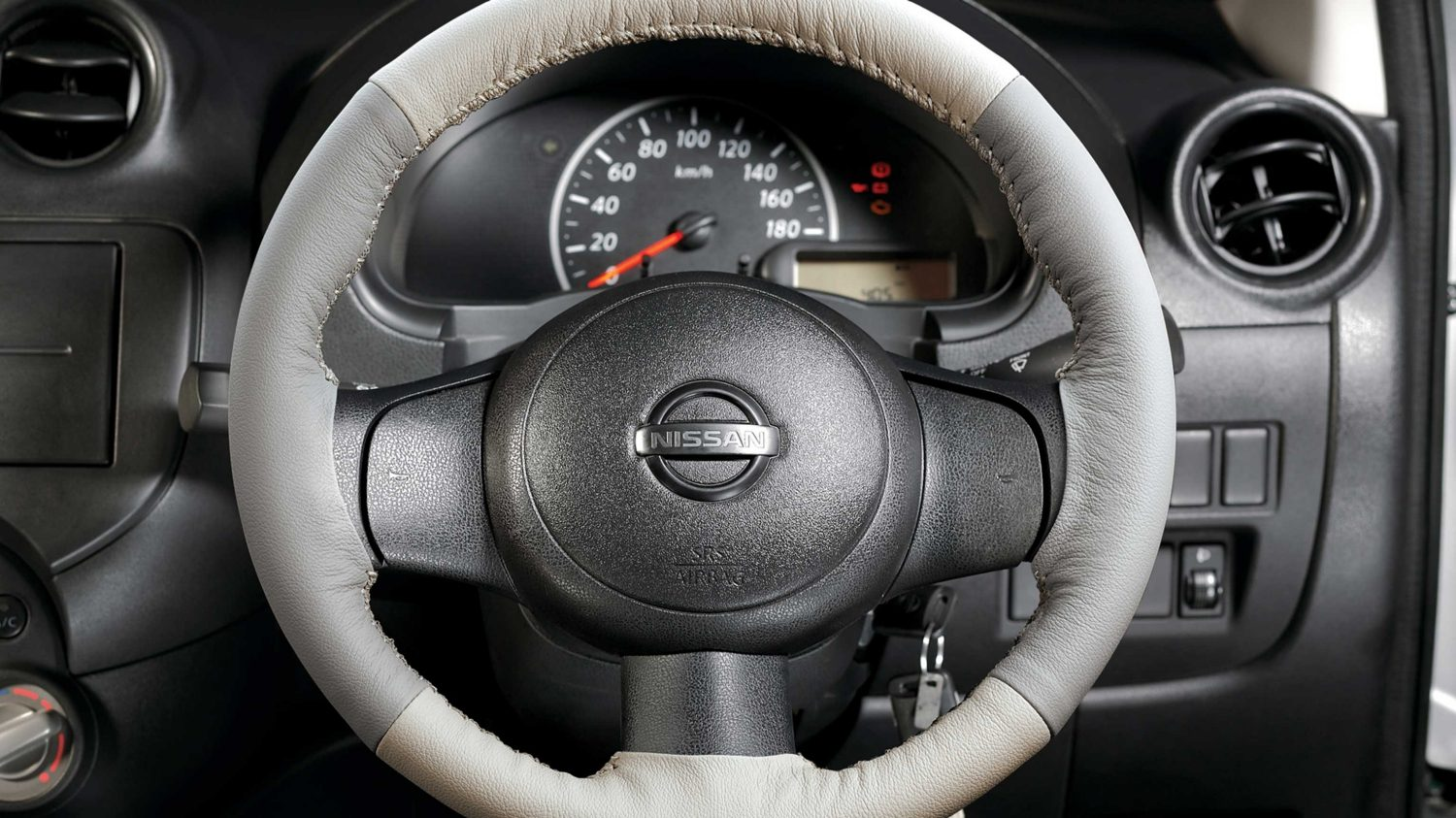 Steering Wheel Cover - Pure Leather (Greige/Ivory)