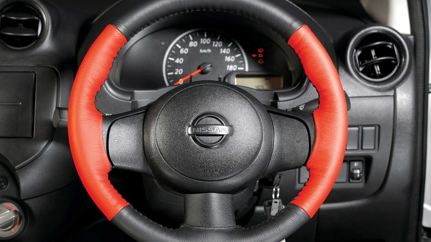 Steering Wheel Cover - Pure Leather (Black/Red)
