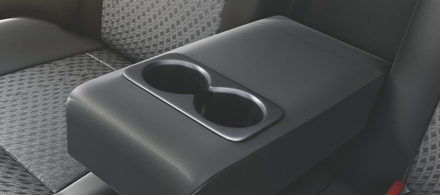 Rear headrest and cupholders
