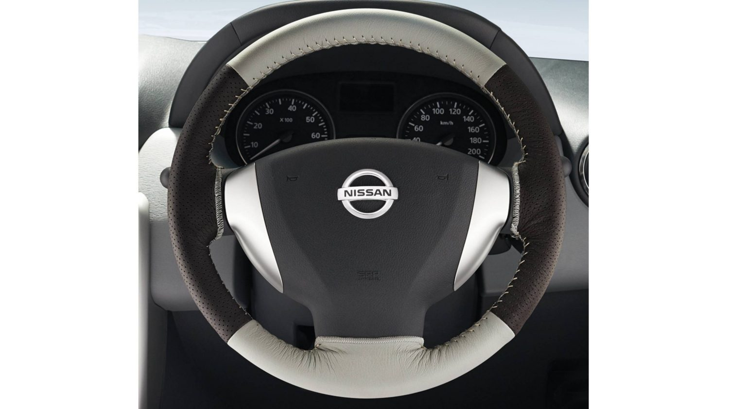 Steering Wheel Cover Leather - Beige + Brown