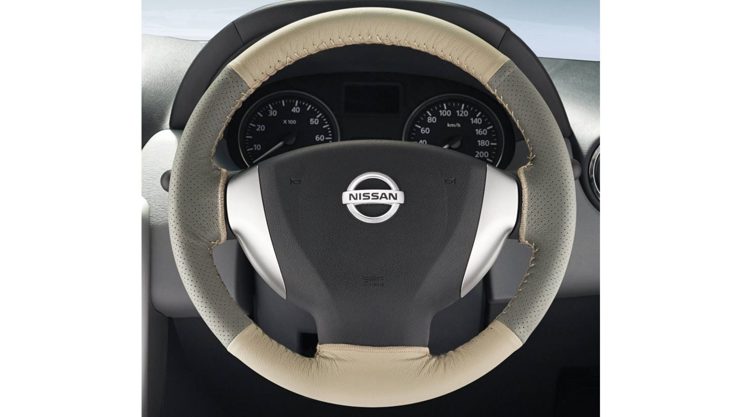 Steering Wheel Cover Leather - Beige + Greige
