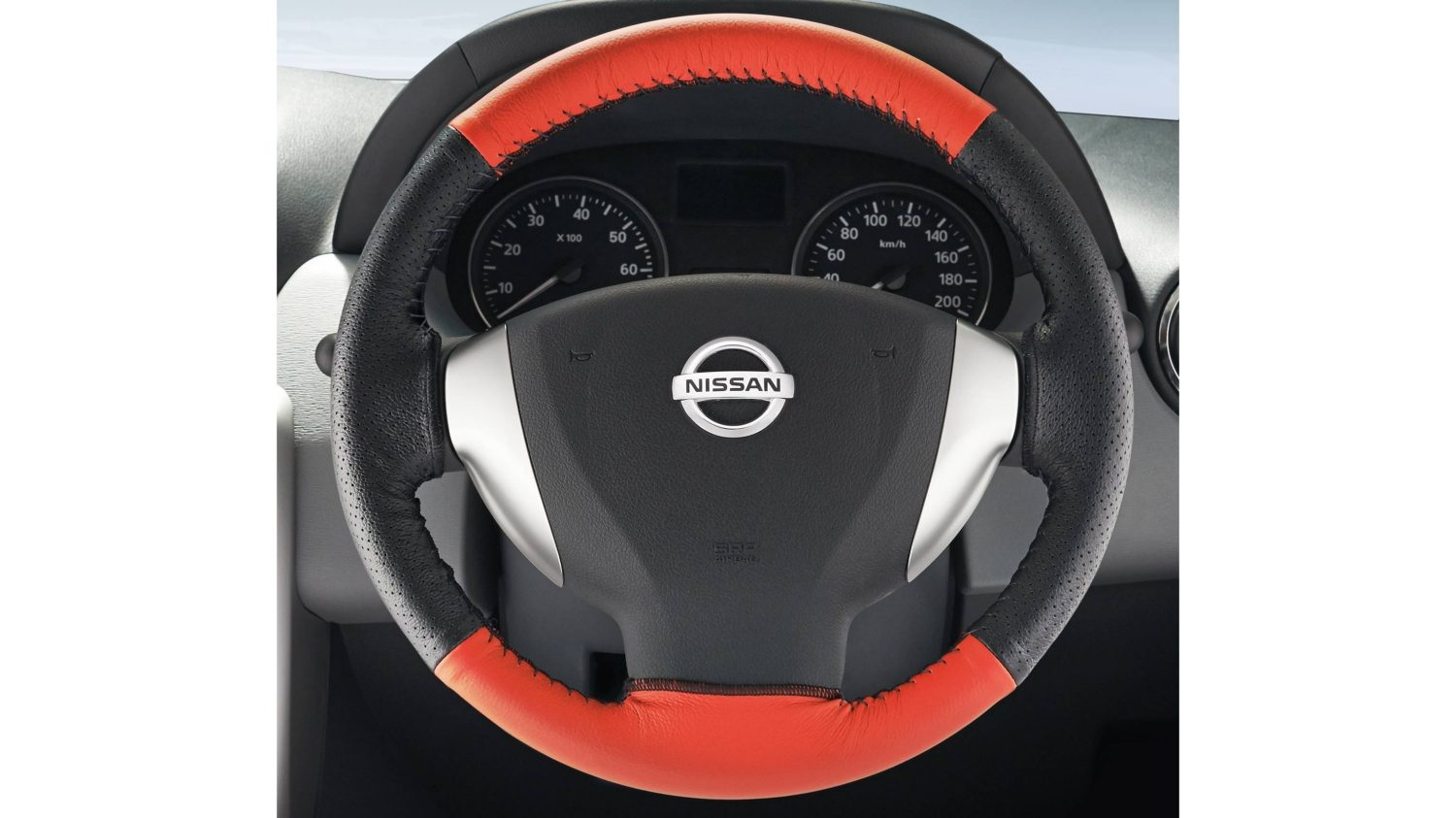 Steering Wheel Cover Leather - Black + Red