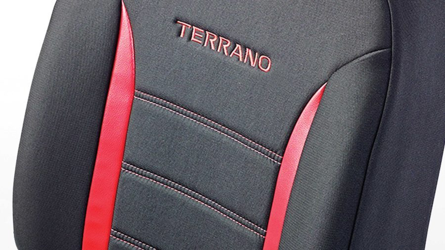 Seat Cover - Fabric Black + Red