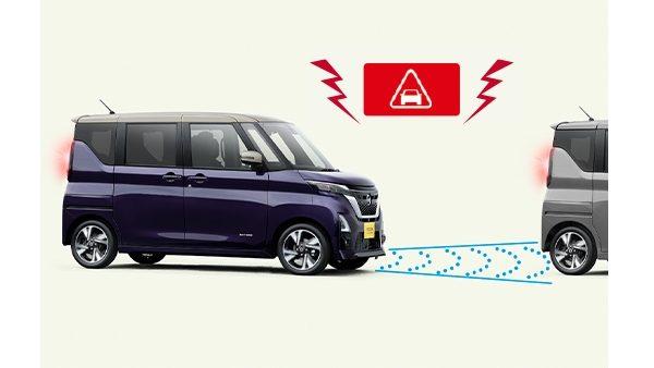 走行中に前方車両や人を検知。衝突回避をアシスト。