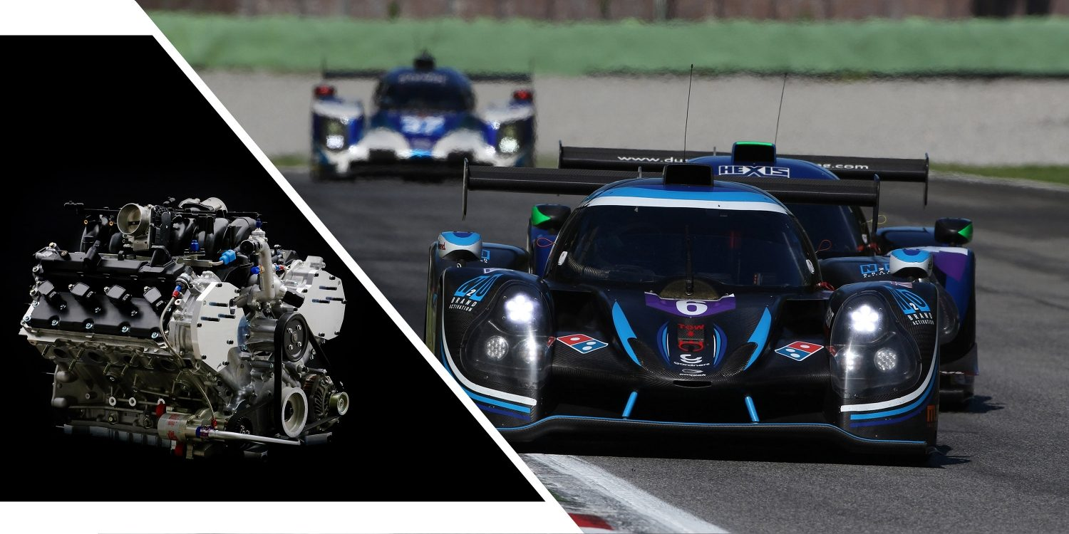 Split image with V8 NISMO racing engine and Ligier JS P3 Nissan race car