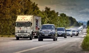 Nissan mobilizes vehicles and employees to support Thai Red Cross 'Fight COVID' Caravan.