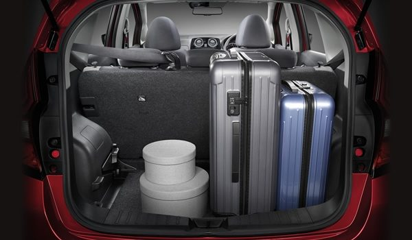 Cargo area with folded down seats and beach items