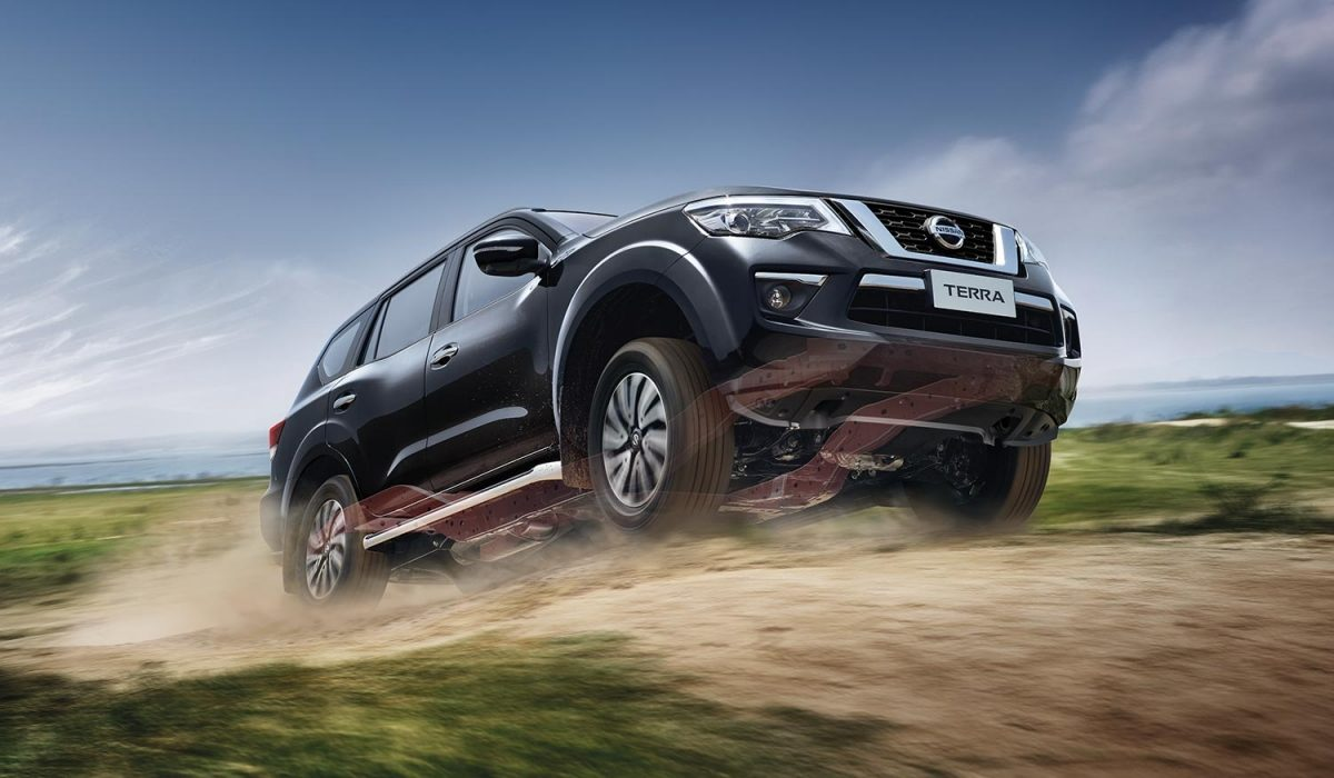 Nissan Terra driving up a rough dirt road